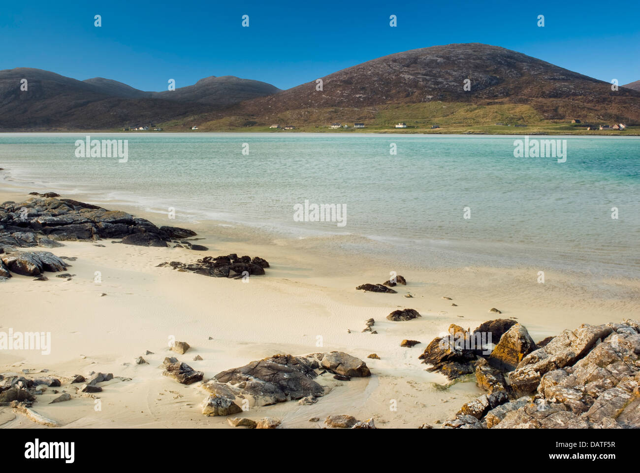Beach at Luskentyre, looking towards Seilebost, Sound of Taransay, Isle of Harris, Outer Hebrides, Scotland - Stock Image