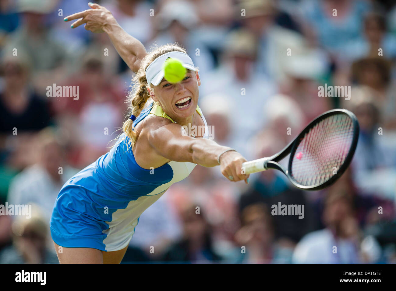 Caroline Wozniacki of Denmark in action during singles match - Stock Image