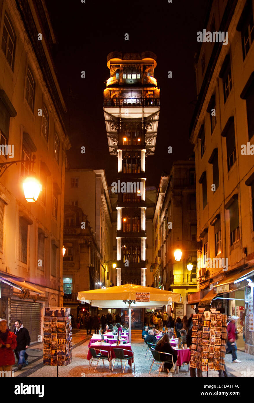 Santa Justa elevator in Baixa district of Lisbon, Portugal, designed by Gustave Eiffel - Stock Image