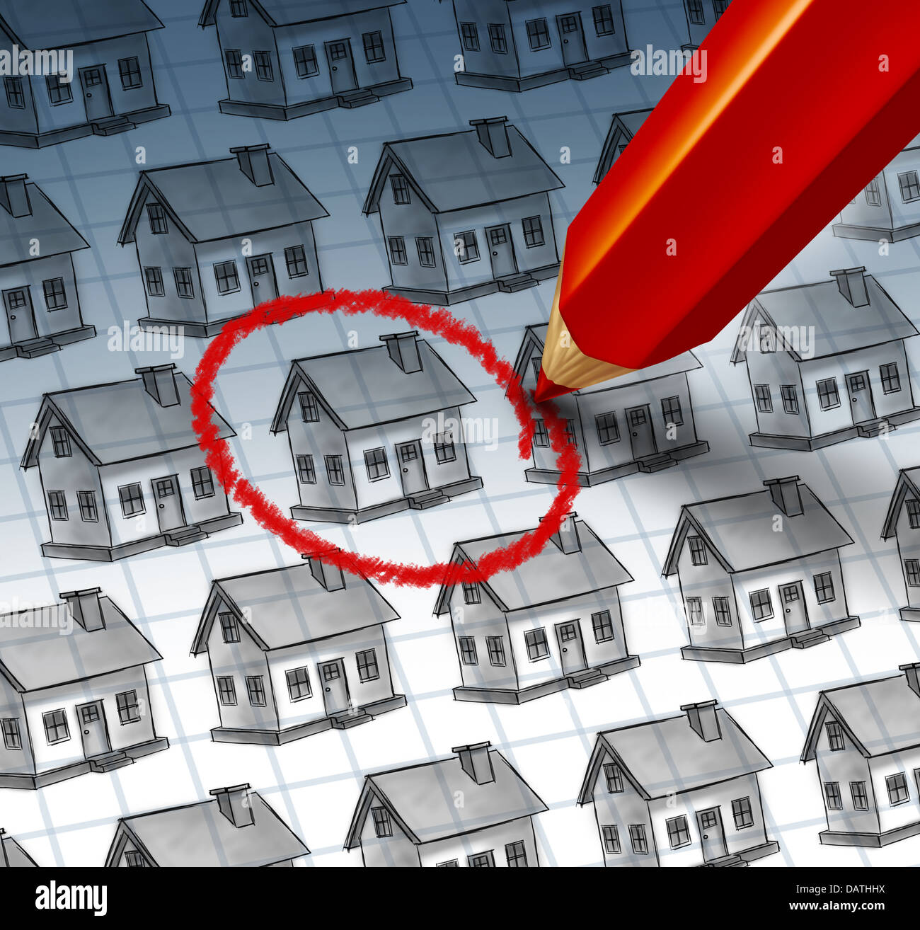 Choosing a home and house search concept with a red pencil crayon highlighting a drawing from a group of houses - Stock Image
