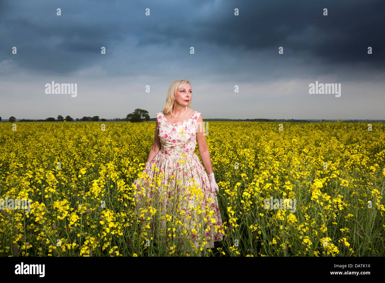 woman standing in field in open countryside with oilseed crop - Stock Image