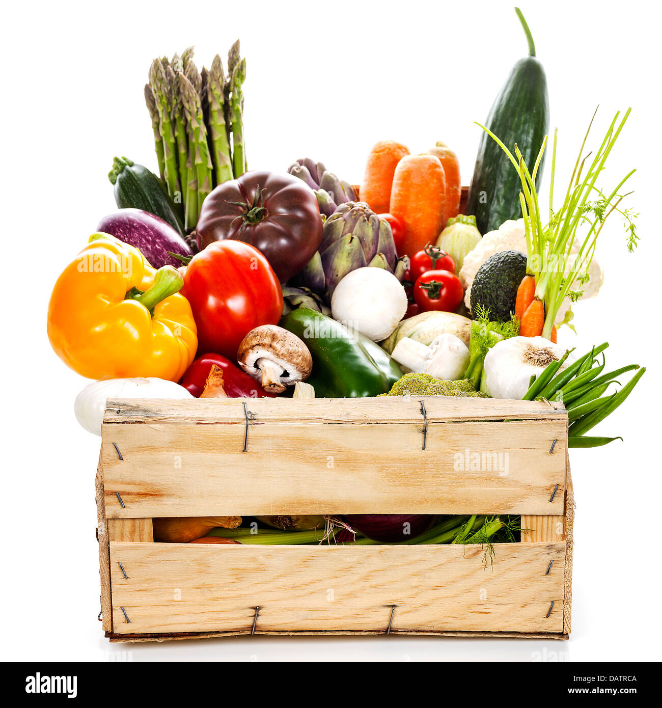 Assortment of fresh vegetables in a crate Stock Photo