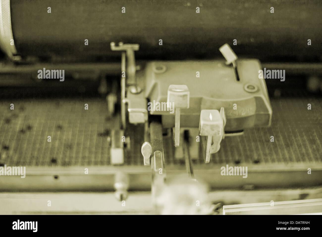 Old-fashioned manual typewriter, keyboard - Stock Image