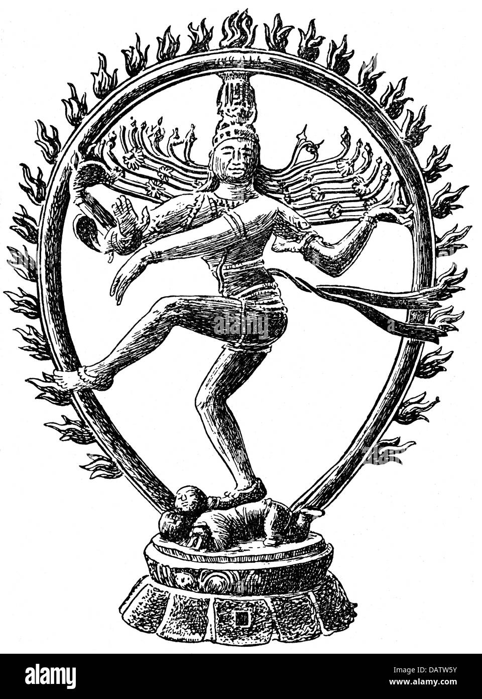 Shiva, Indian deity, full length, dancing, drawing based on sculpture, Additional-Rights-Clearances-NA - Stock Image