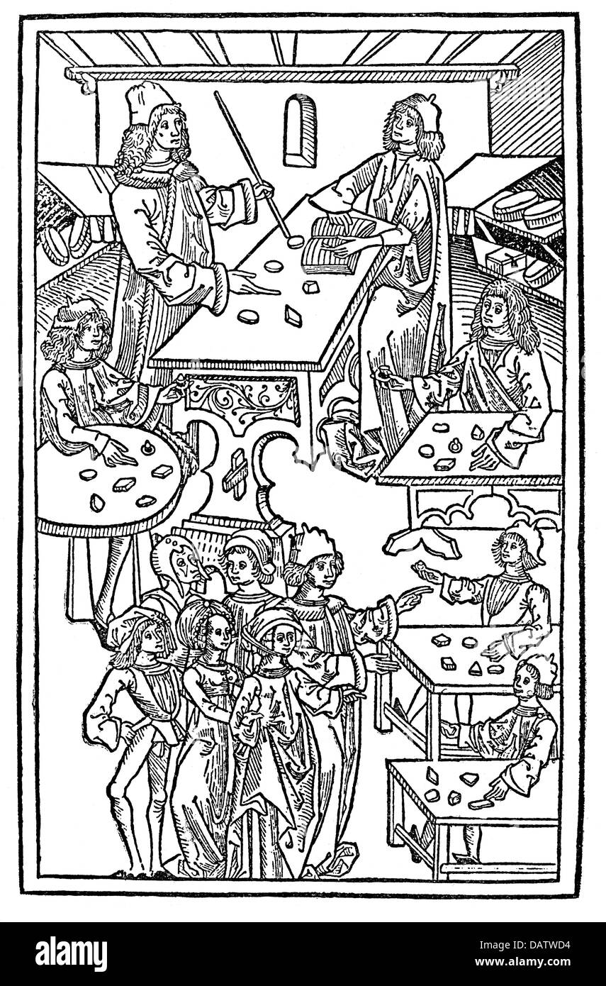 trade, merchants, upper class citizens visiting goldsmiths and jewellers, woodcut, from: 'Hortus sanitatis', - Stock Image