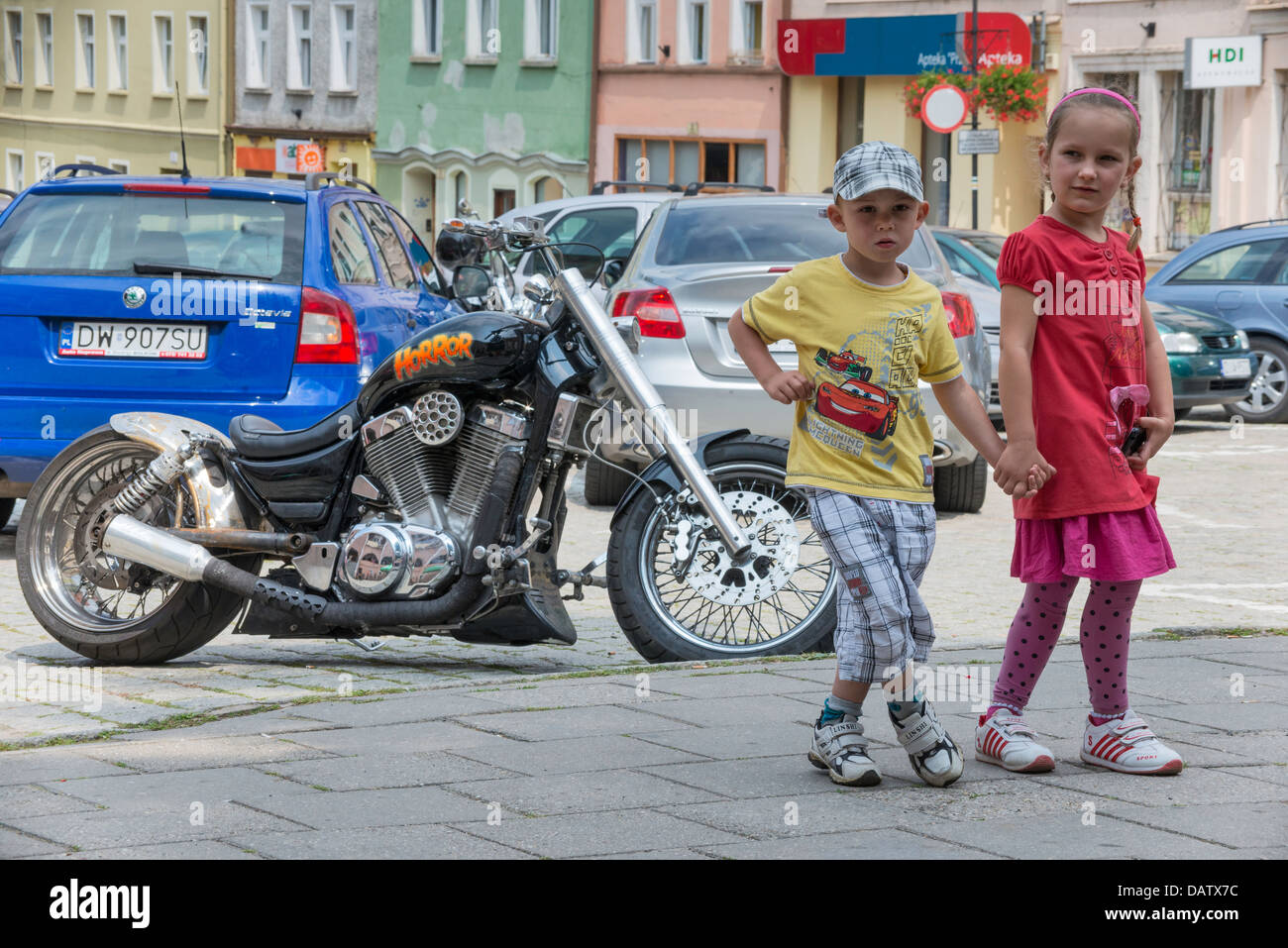 Children and 'Horror' modified motorcycle in Bolkow, Silesia, Poland - Stock Image