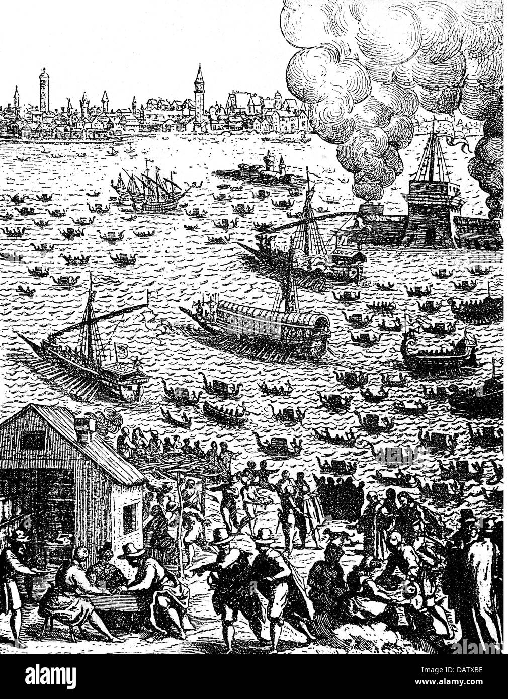 geography / travel, Italy, Venice, festivities, Marriage with the Sea, return of the doge, copper engraving by Giacomo - Stock Image