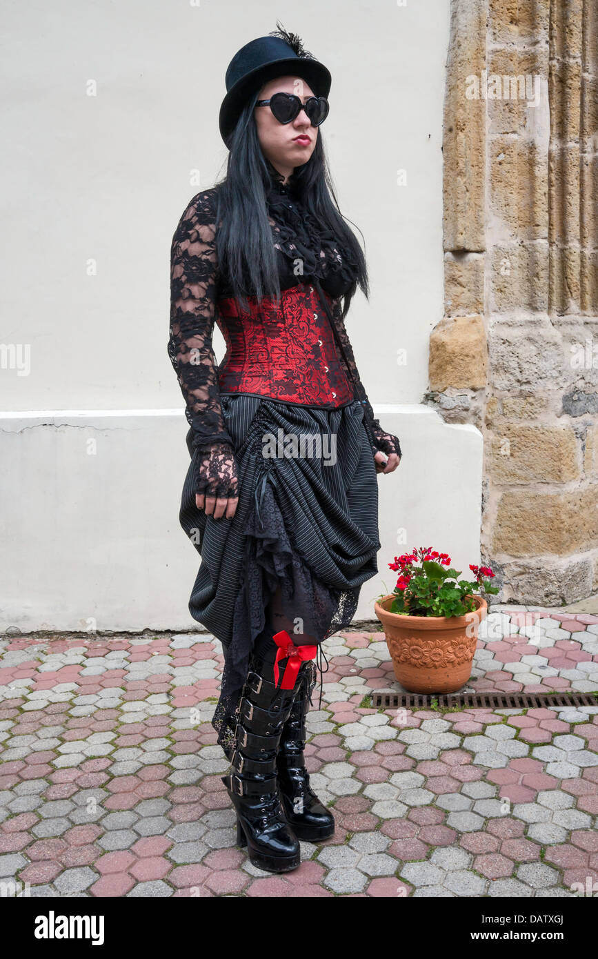Castle Party participant in Bolkow, Gothic Festival dedicated to the goth subculture in Bolkow, Lower Silesia, Poland - Stock Image