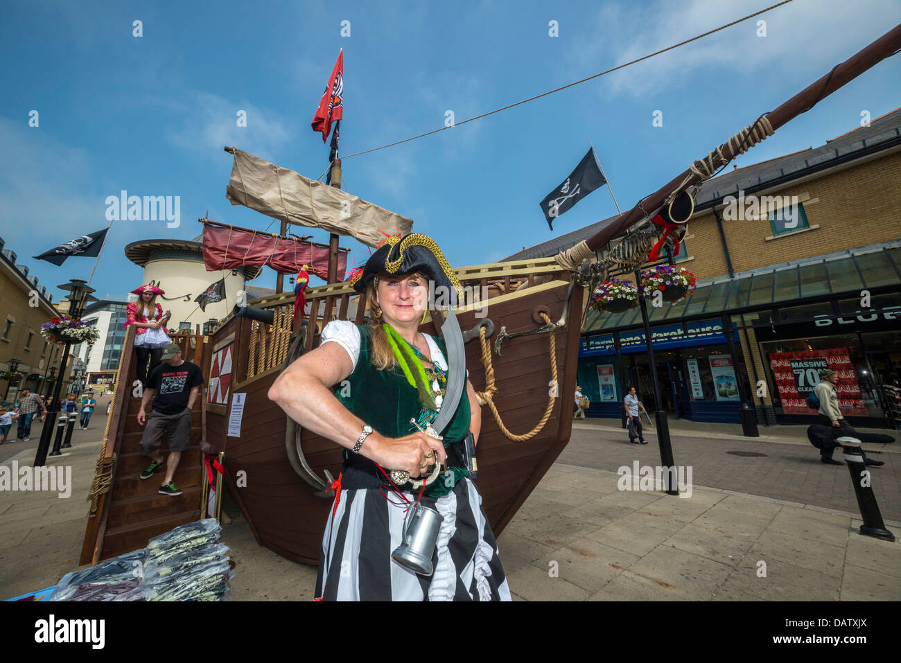 Hastings Pirate day celebrations, Queens square, Priory Meadow, Hastings, England, UK - Stock Image