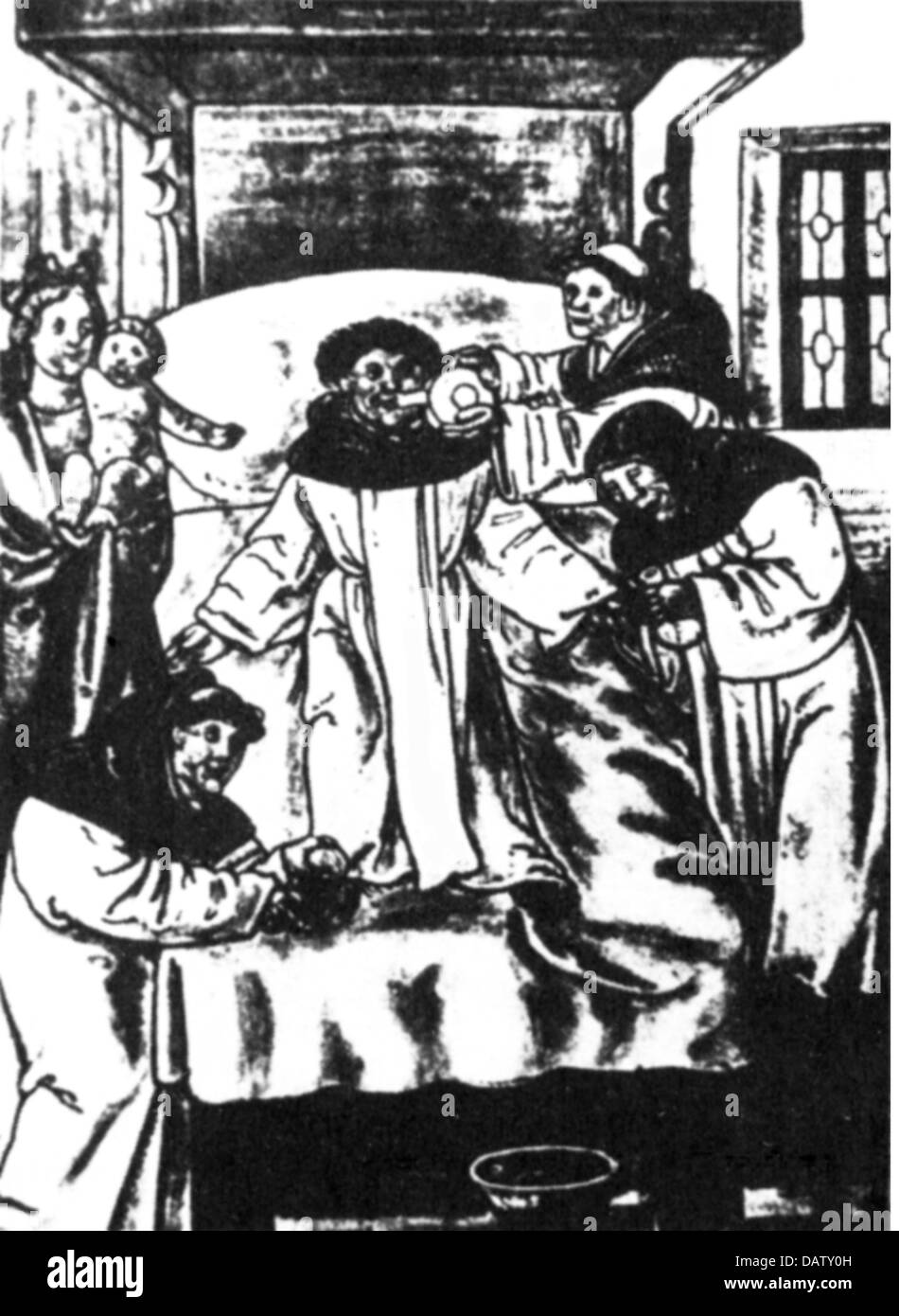medicine, anesthesia, administration of alcohol as anaesthetic in a monastery hospital, woodcut, 15th century, 15th - Stock Image