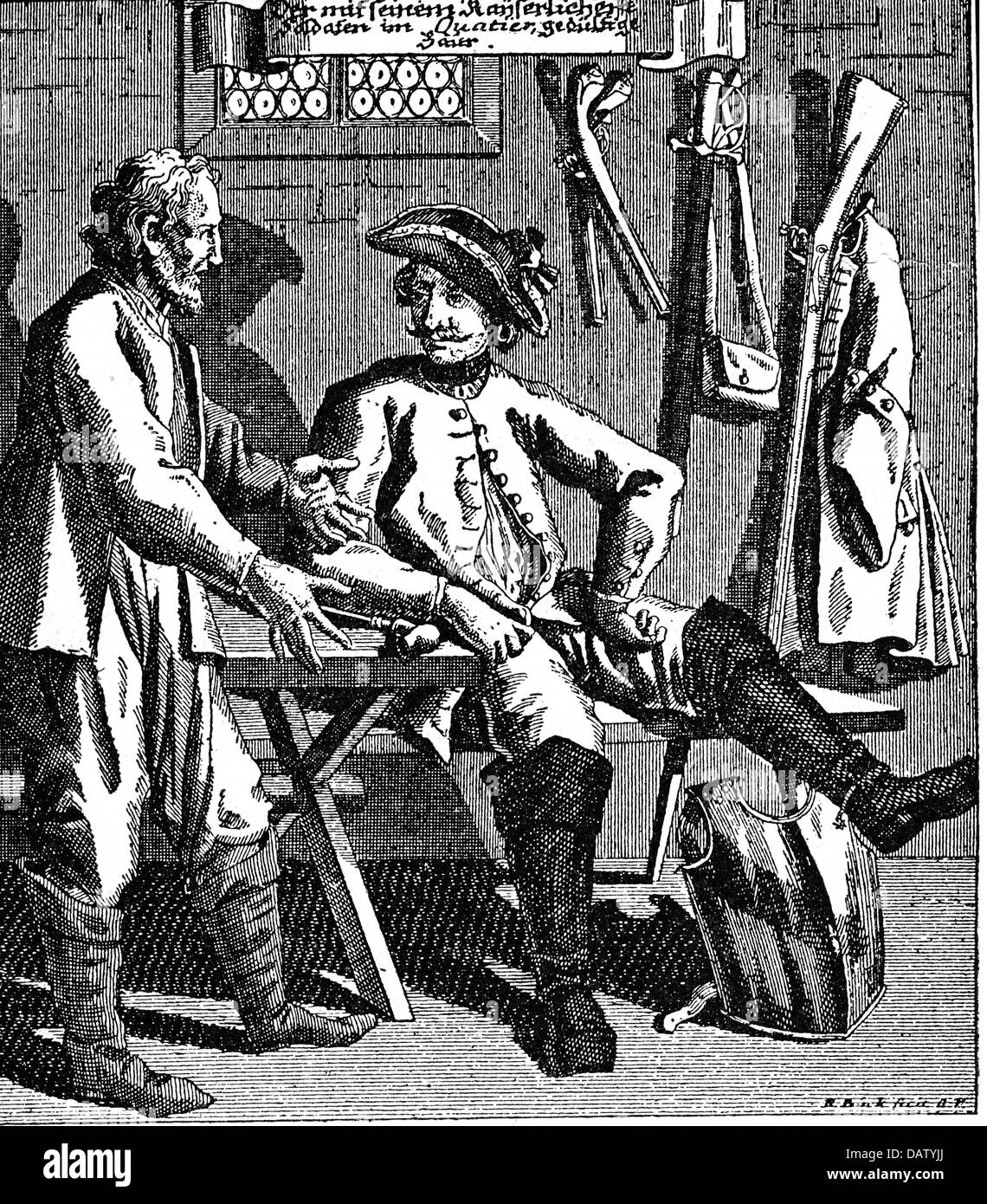 military, Austria, military life, soldier in his billet, copper engraving, 18th century, farmer, farmers, billeting, - Stock Image