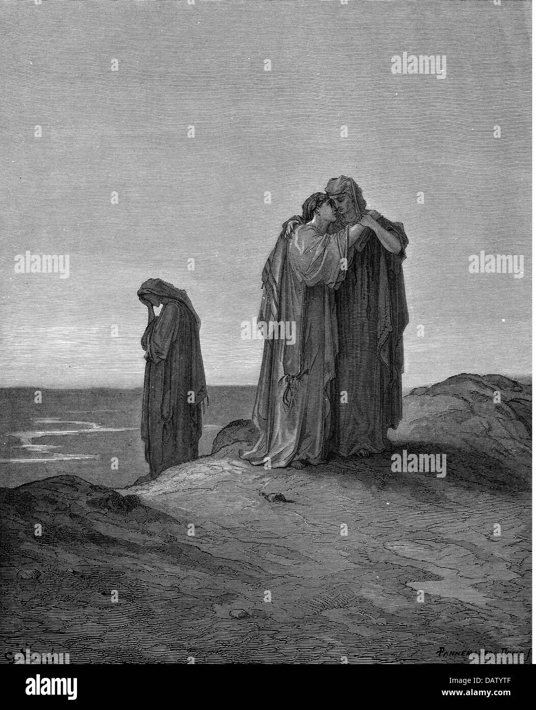 religion, biblical scenes, 'Naomi and the strings', wood engraving to the Bible by Gustave Doré, 1866, - Stock Image