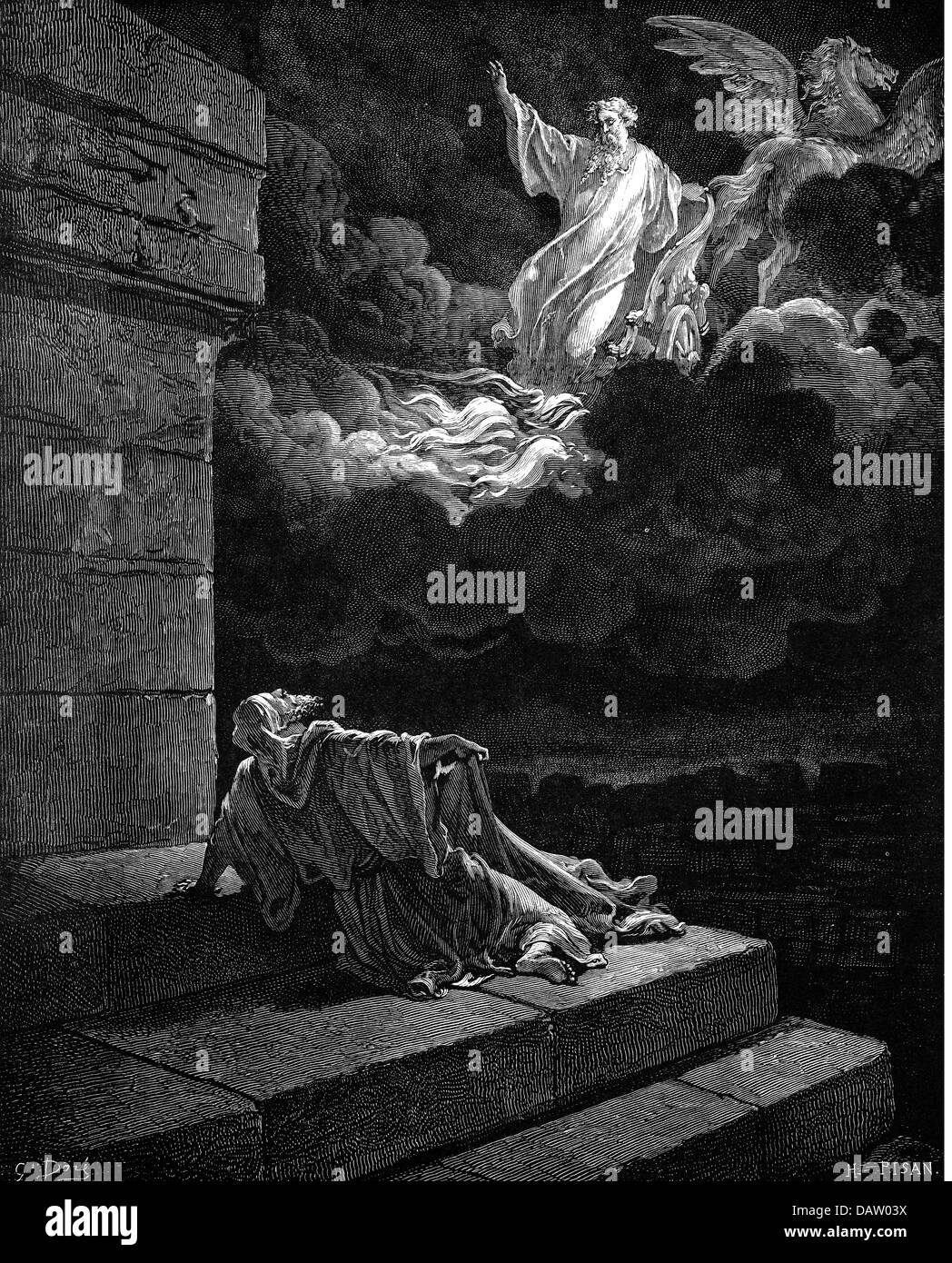 religion, biblical scenes, 'Elias in a chariot of fire', wood engraving to the Bible by Gustave Doré, - Stock Image