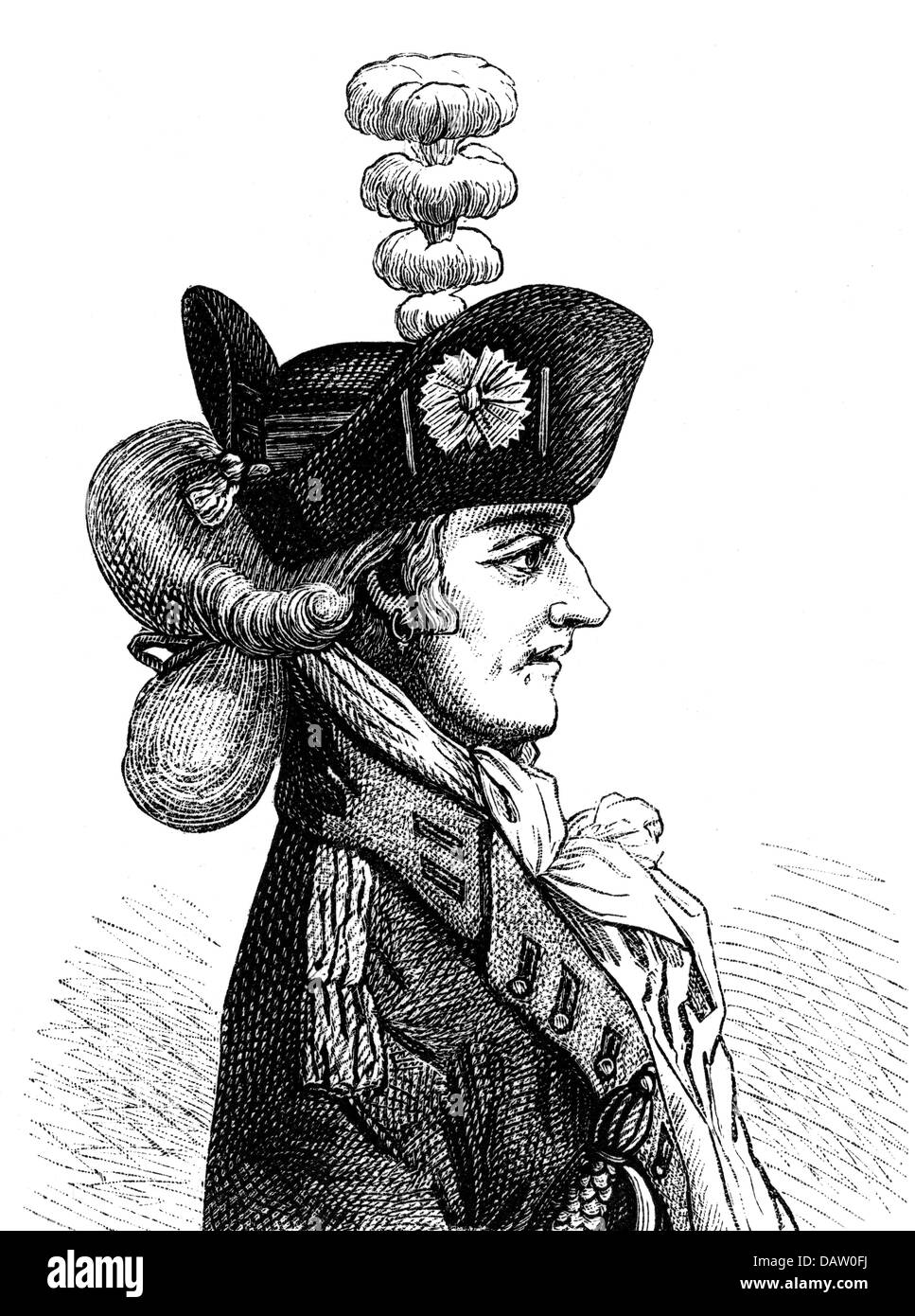 military, France, a recruiting officer from the 18th century, portrait, profile, wood engraving, 19th century, officers, - Stock Image