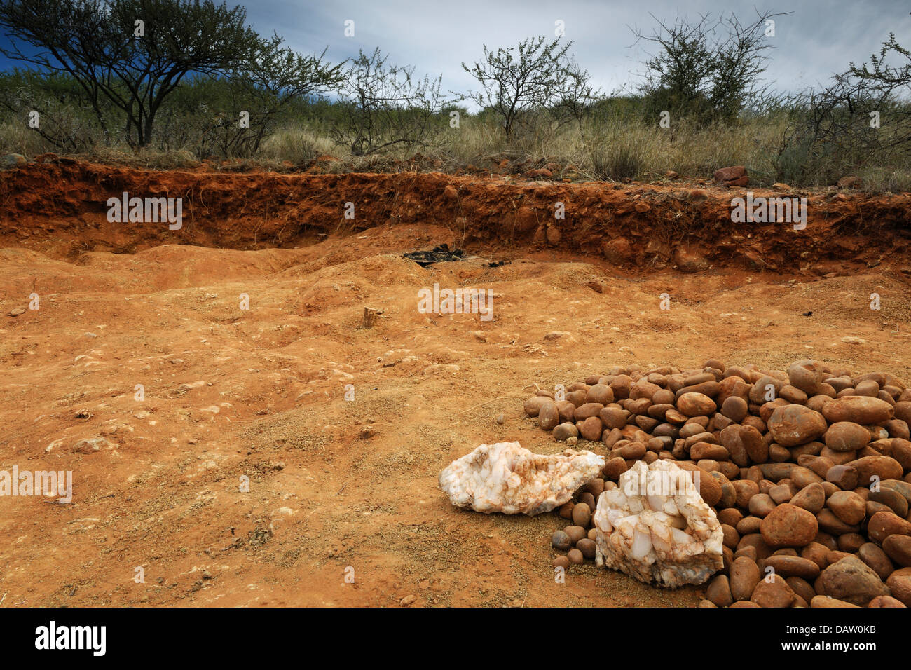 Small diamond mining operation with the excavation of rooikoppie ground near Barkly West, South Africa - Stock Image