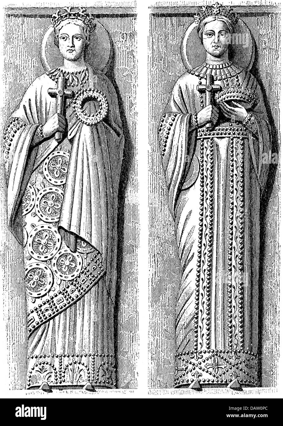 Middle Ages, Kingdom of the Lombards, Lombard princesses in Byzantine costumes, wood engraving, 19th century, after - Stock Image