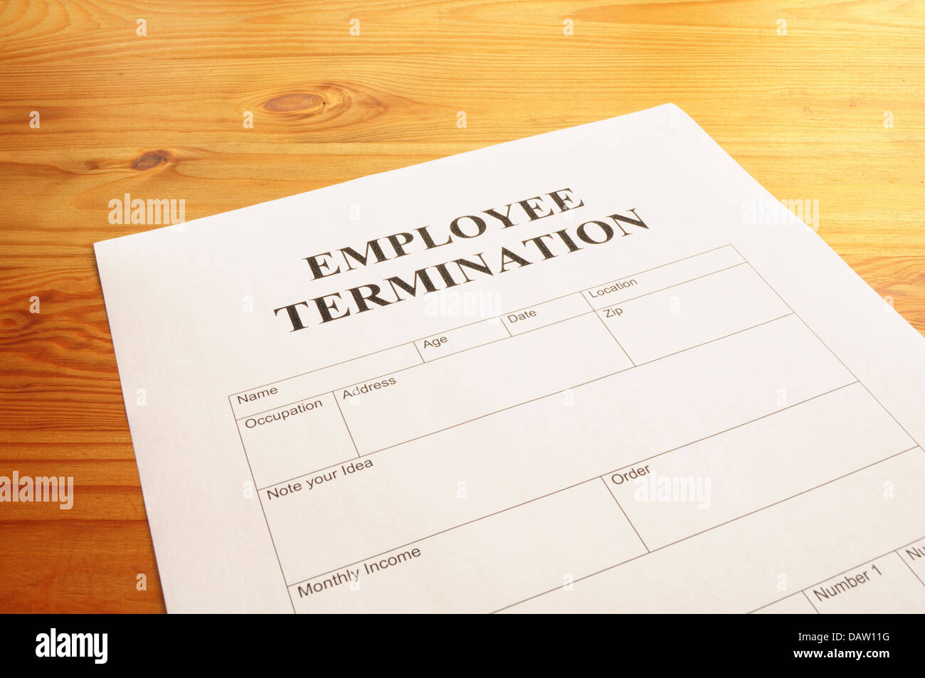employee termination - Stock Image