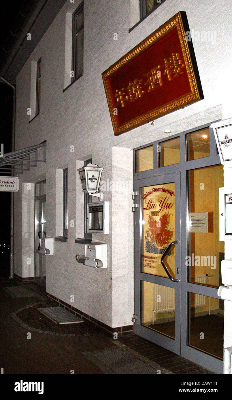 The photo shows the entrance of a Chinese restaurant in Sittensen, Germany, Monday, 05 February 2007. Six persons - Stock Image