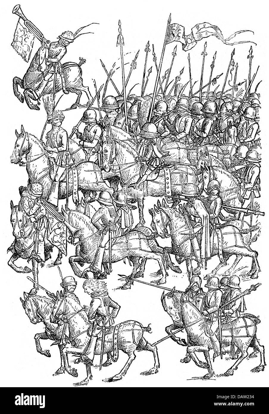 military, Middle Ages, mounted armed servants, woodcut after a pen drawing, 14th century, warriors, servant, servants, - Stock Image