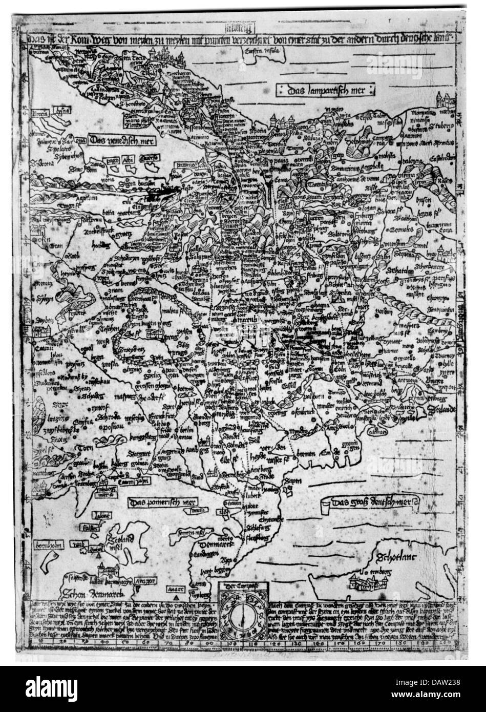 cartography, map, Middle Ages, Central Europe, 'The Way to Rome' by Erhard Etzlaub, woodcut, Nuremberg, - Stock Image