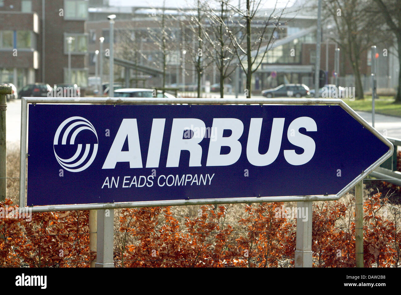 A direction sign points to the Airbus plant Stade, germany, Monday, 05 February 2007. The recapitalization concept - Stock Image