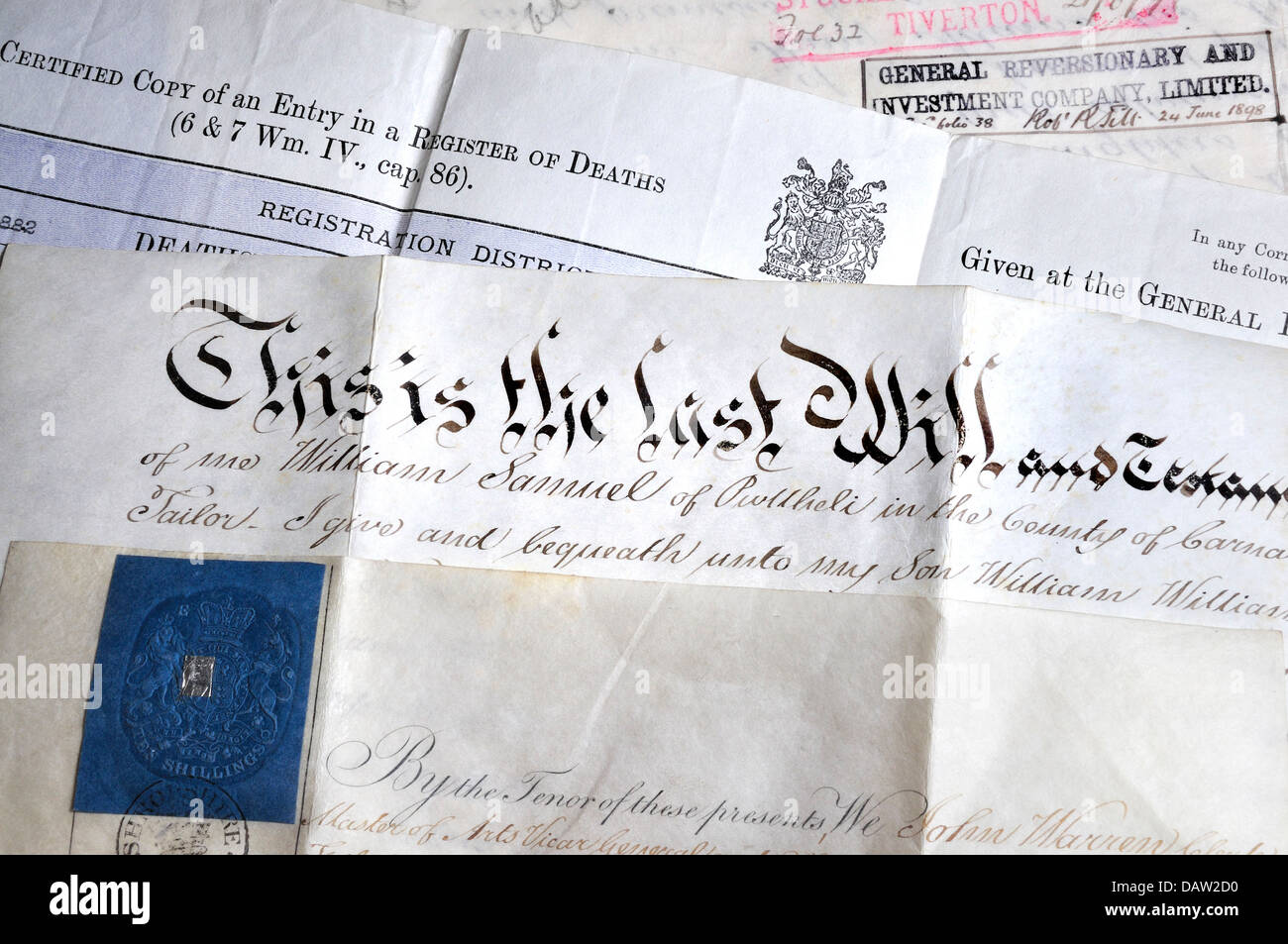 Genealogy documents - death certificate and hand-written will - Stock Image