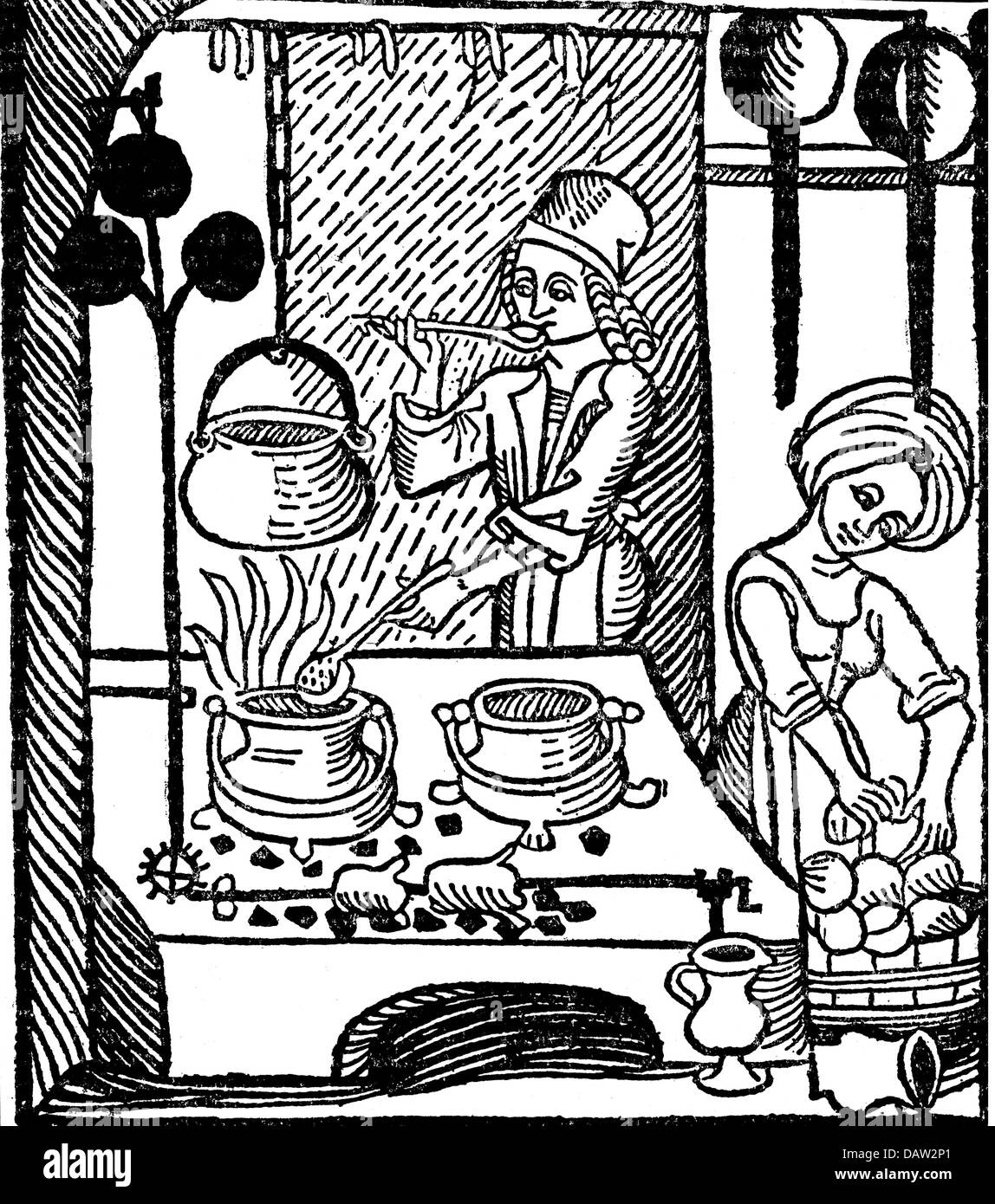 Household Cooking And Baking Old German Kitchen Woodcut 16th Century 15th