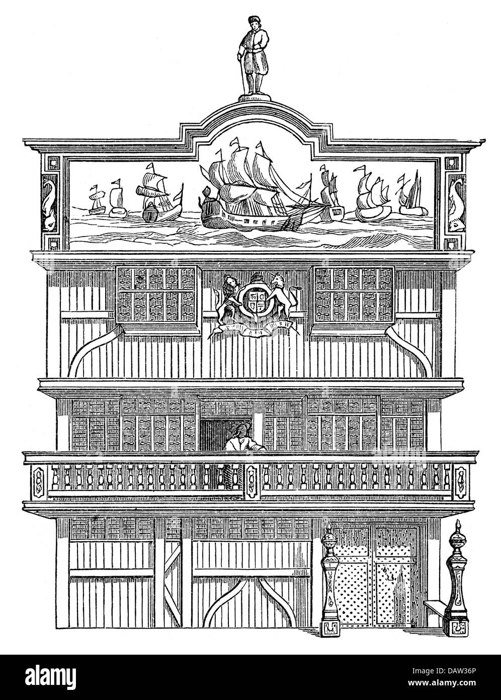 trade, trading company, English East India Company, headquarters in London, exterior view, after engraving, 17th - Stock Image