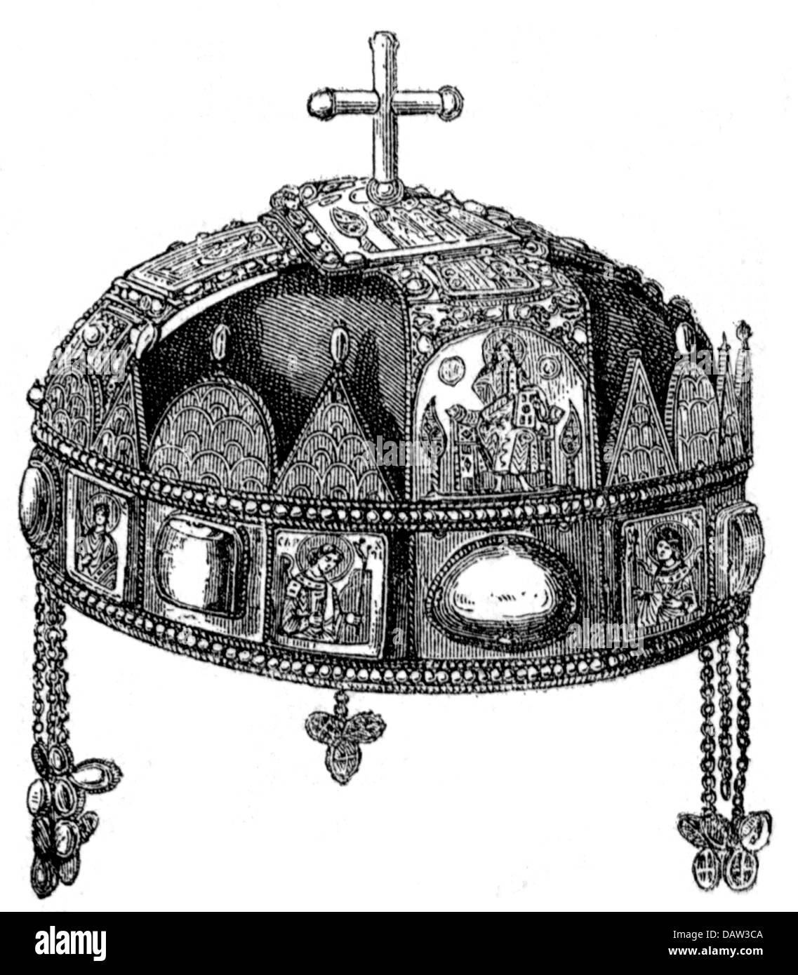 crowns / crown jewels, Hungary, crown of Saint Stephen, second version, 1270 - 1272, Additional-Rights-Clearences - Stock Image