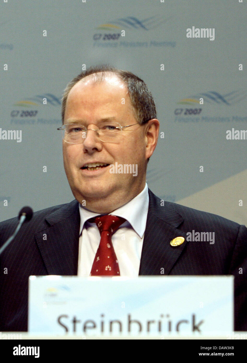 German Minister of Finance Peer Steinbrueck pictured at a press conference on the meeting of the G7 Minister of - Stock Image