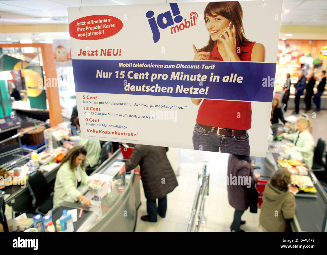 Rewe Prepaid Karte.A Placard Advertises A Prepaid Card For Cellular Phones Of