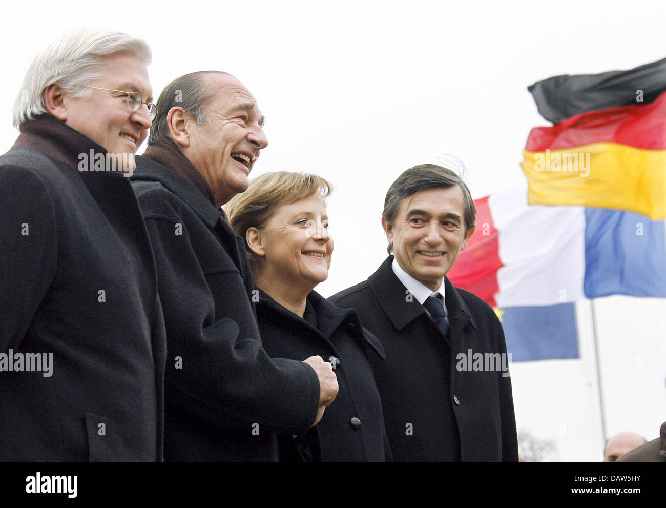 German Foreign Minister Frank-Walter Steinmeier (L-R), French President Jacques Chirac, German Chancellor Angela - Stock Image