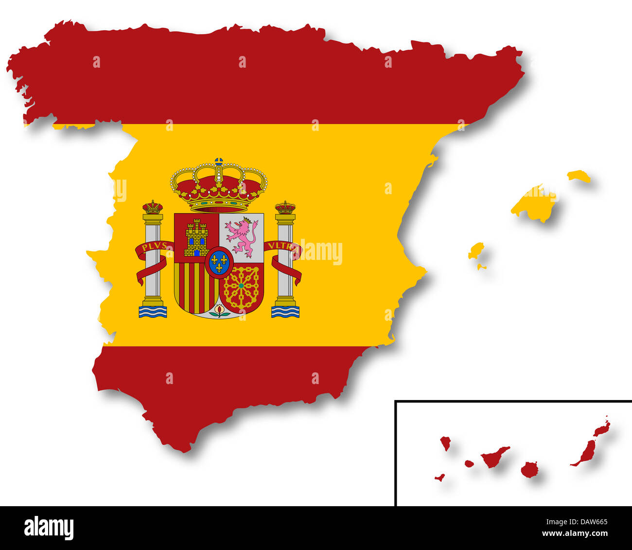Map and flag of Spain - Stock Image
