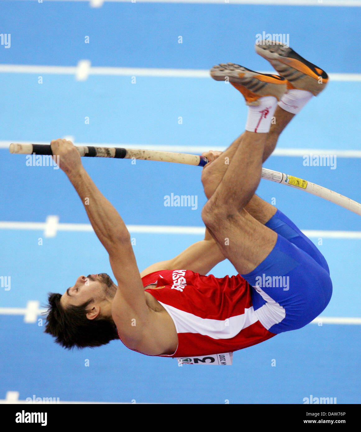 Russina decathlete Alexander Pogorelow shown in action during the pole vault of the decathlon competition at the Stock Photo