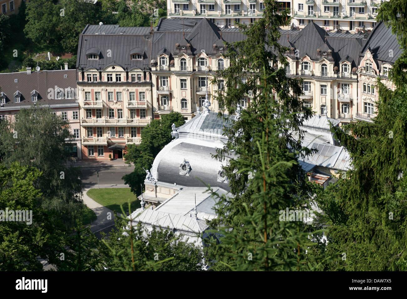 Panoramic view of Cisarske Lazne (Lazne I), Karlovy Vary from above, Czech Republic - Stock Image