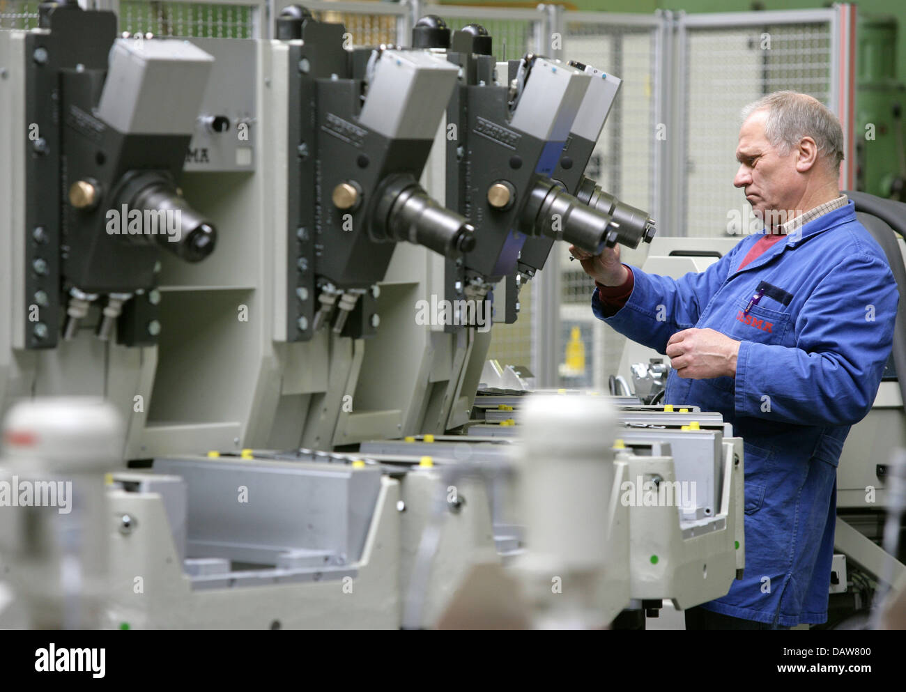 An employee of Kloeckner-Desma shoe-machine producer is