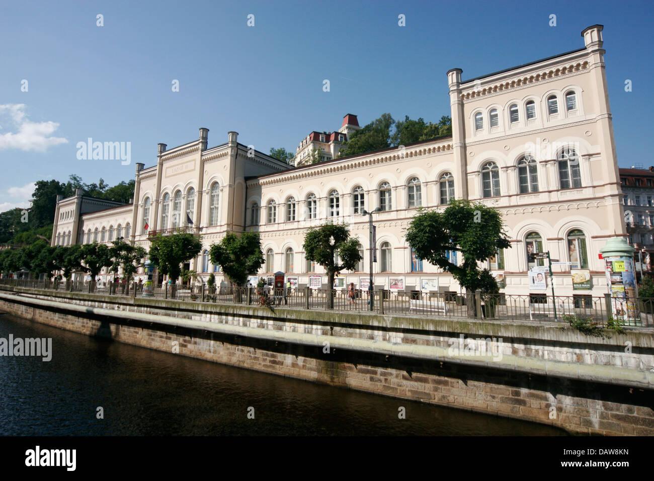 Lazne III on the bank of river Tepla, Karlovy Vary, Czech Republic - Stock Image