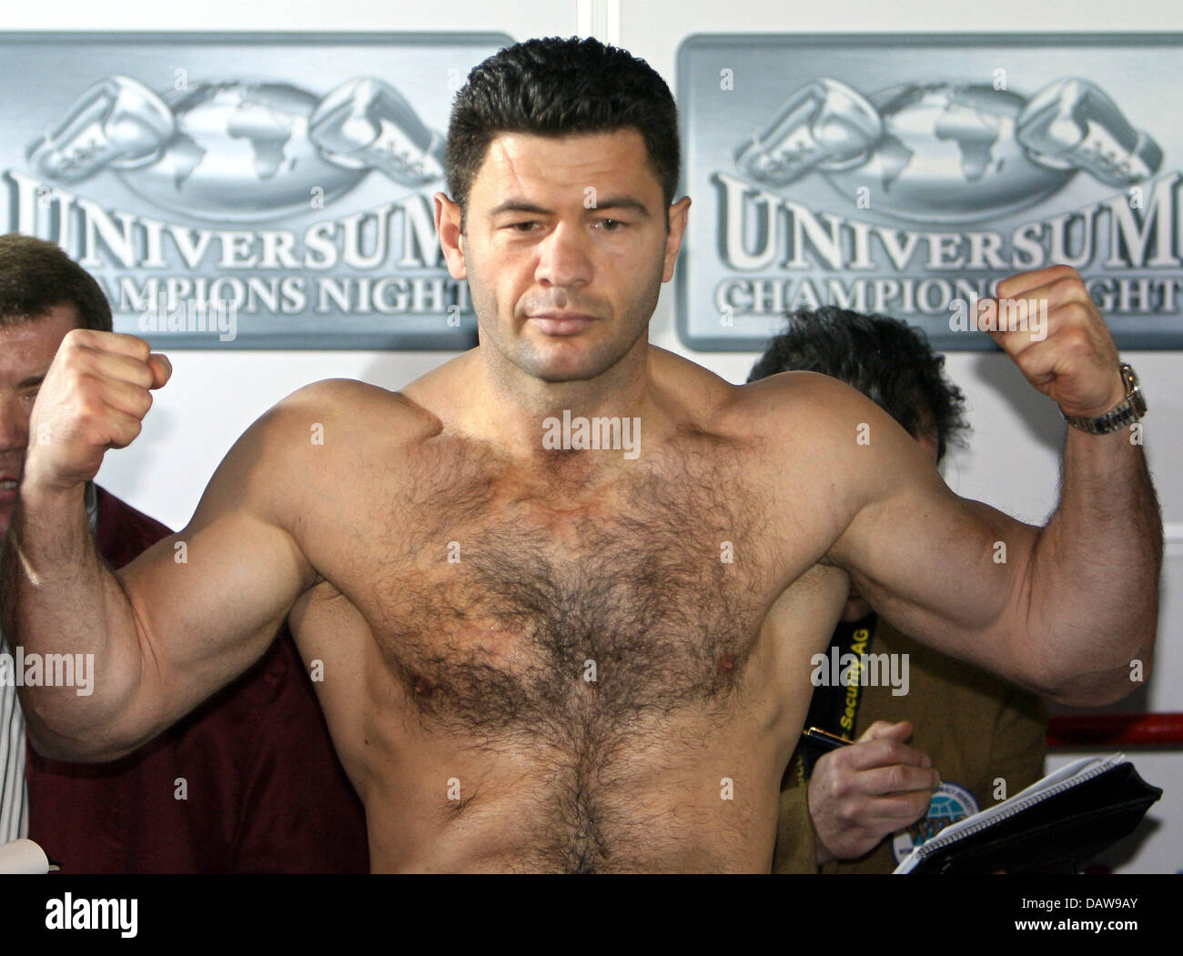 Heavyweight Boxer Luan Krasniqi Poses With Clenched Fists During The Stock Photo Alamy