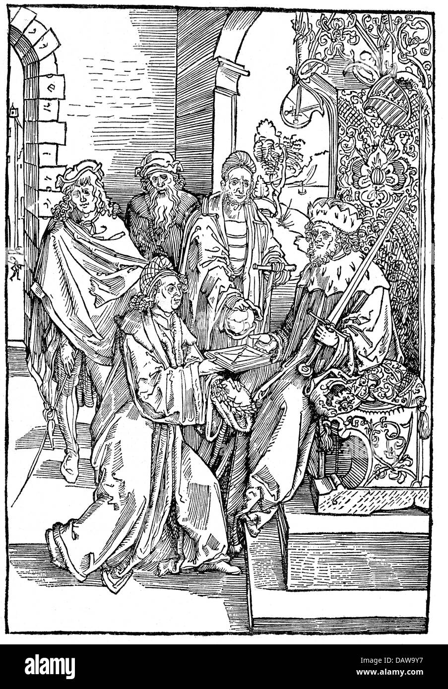 Roswitha of Gandersheim, circa 935 - later 973, German author / writer (poetess), delivering her book to emperor - Stock Image