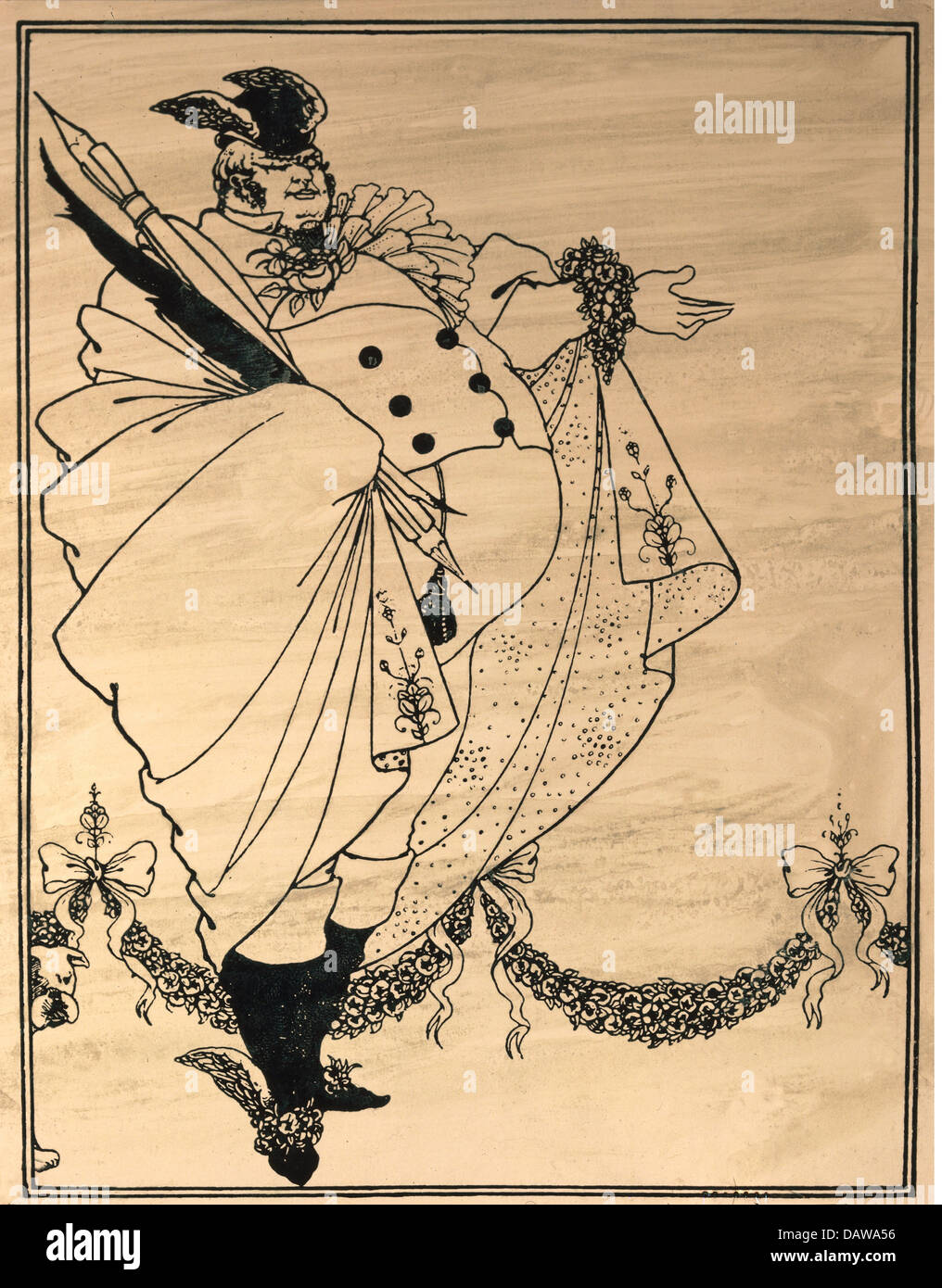 fine arts, Beardsley, Aubrey (1872 - 1898), print, 'The Journalist', satirical drawing, published in the - Stock Image