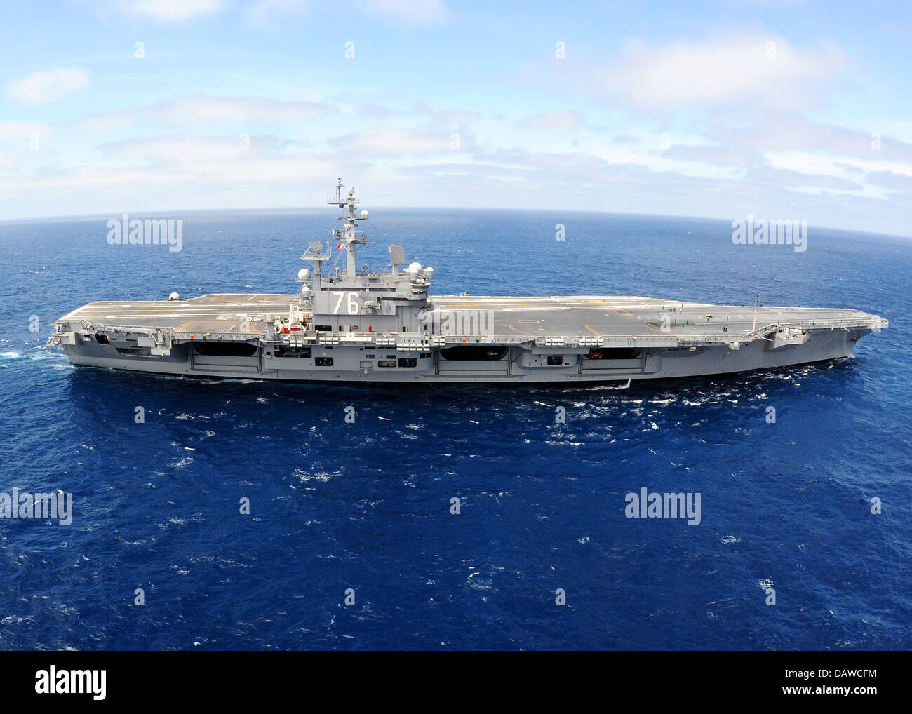 US Navy nuclear aircraft carrier USS Ronald Reagan conducting carrier qualifications July 16, 2013 in the Pacific - Stock Image