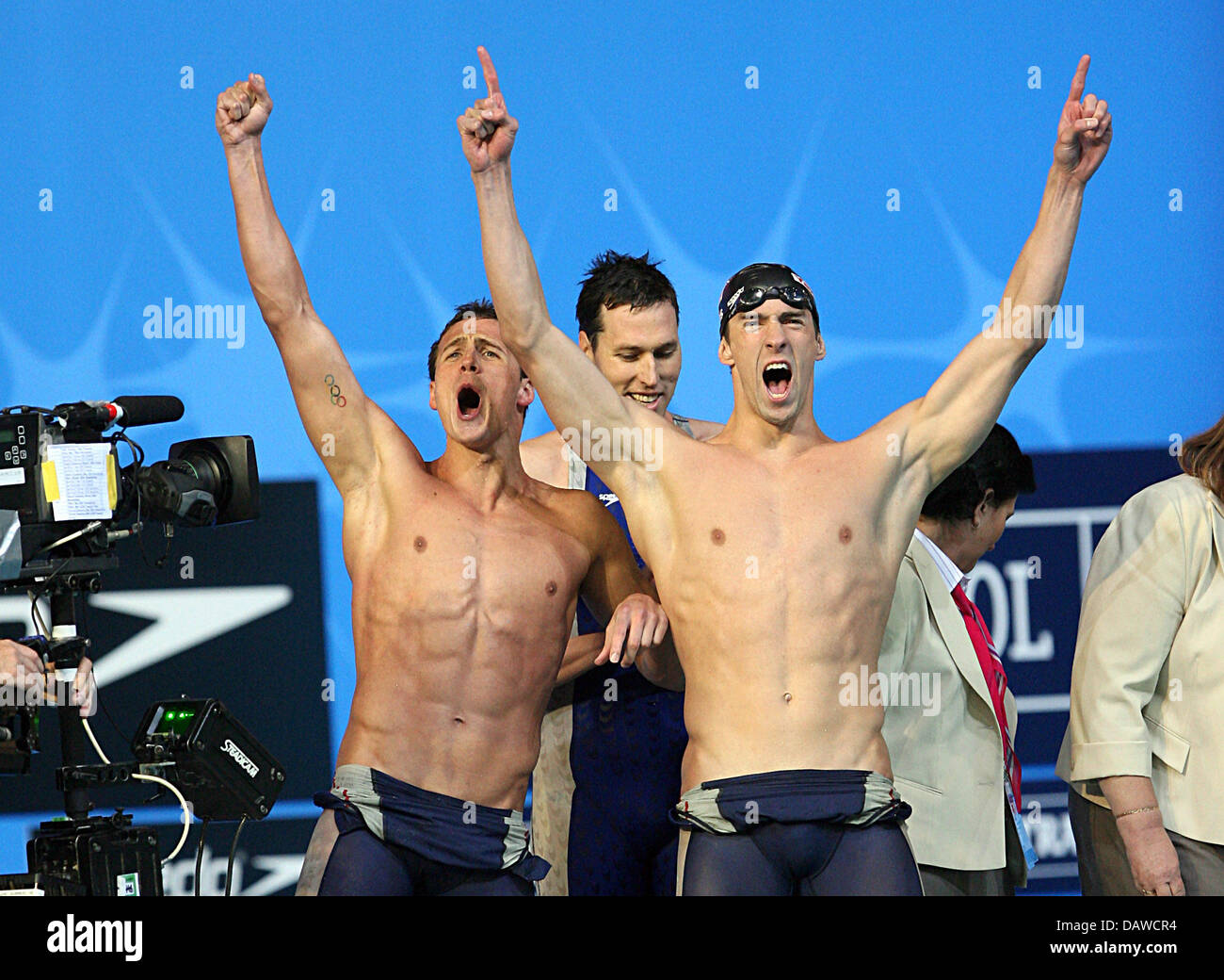 US swimmers (L-R) Ryan Lochte, Michael Phelps and Klete ...