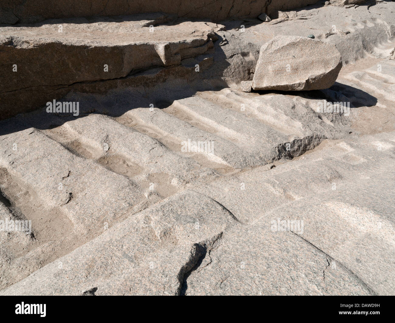 Quarry markings in The Unfinished Obelisk Open Air Museum, Northern Quarries, Aswan, Egypt - Stock Image