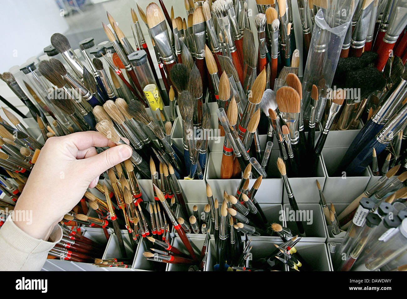 Various types of brushes are pictured at the artist's brush factory Defet Gmbh in Nuremberg, Germany, 27 February Stock Photo