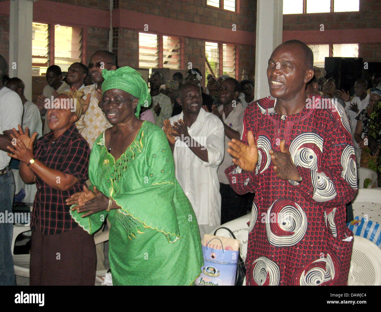 Some members of the chuch 'Mountain of Fire and Miracles Ministries' are pictured during a prayer in Lagos, - Stock Image