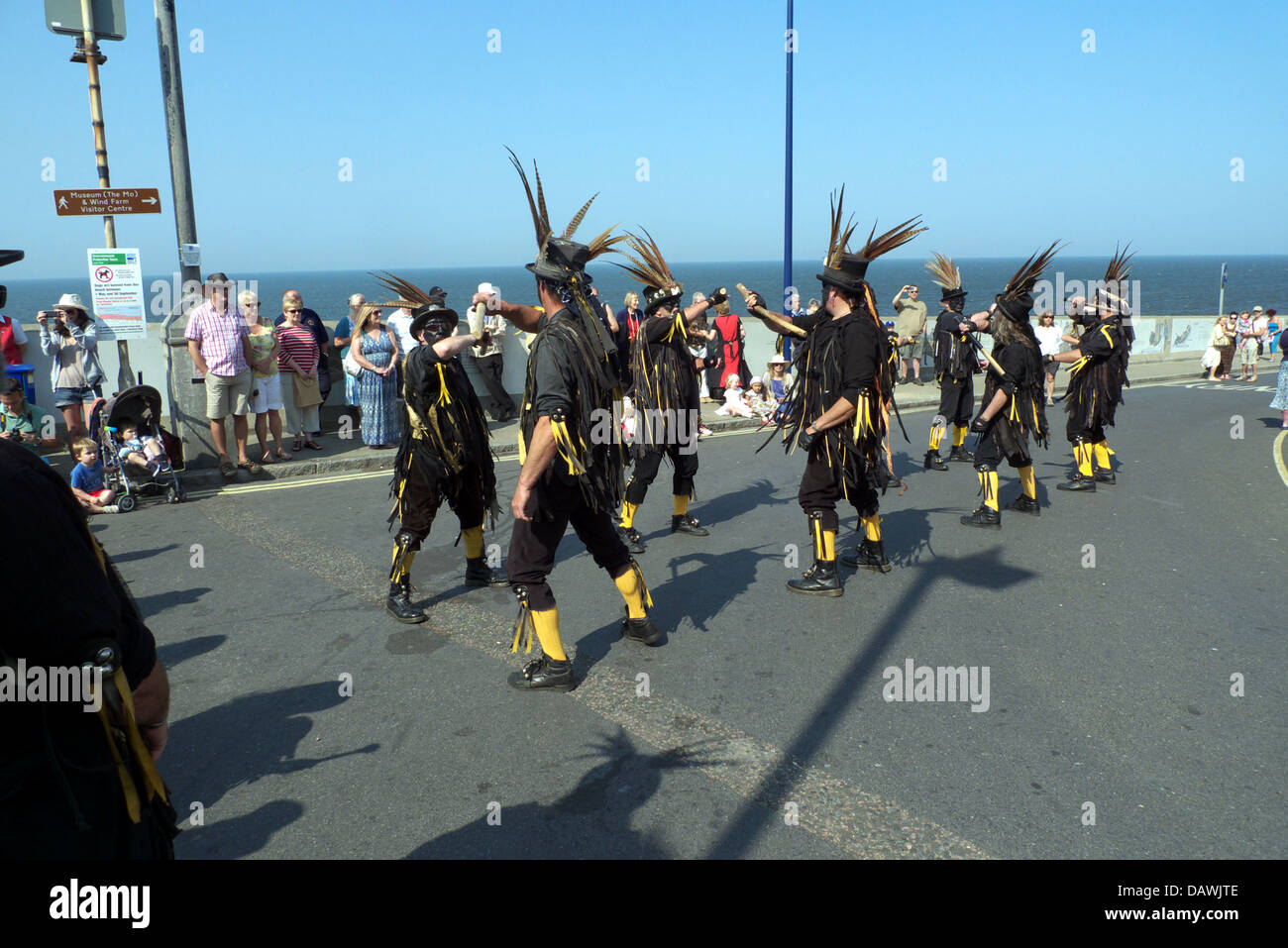 Witchmen dancing their version of a particular type of morris (i.e.Welsh border style) that they call pagan morris. - Stock Image