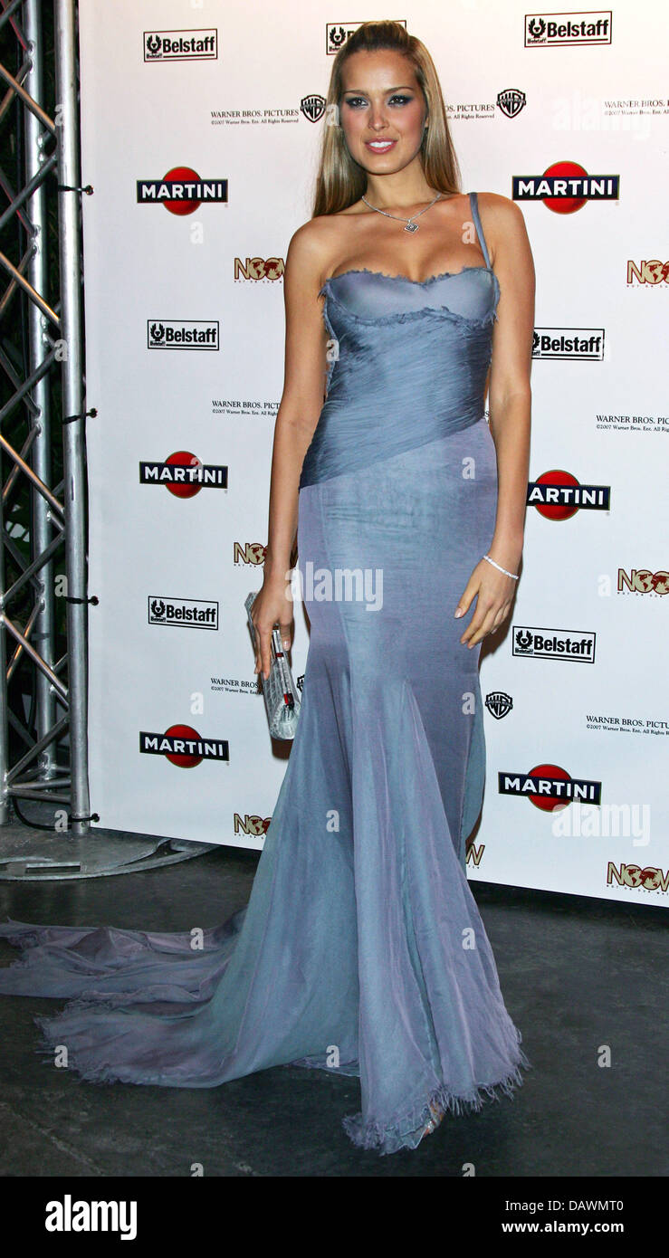Czech model Petra Nemcova poses for the cameras as she arrives to the 'Martini World Premiere Party' for - Stock Image