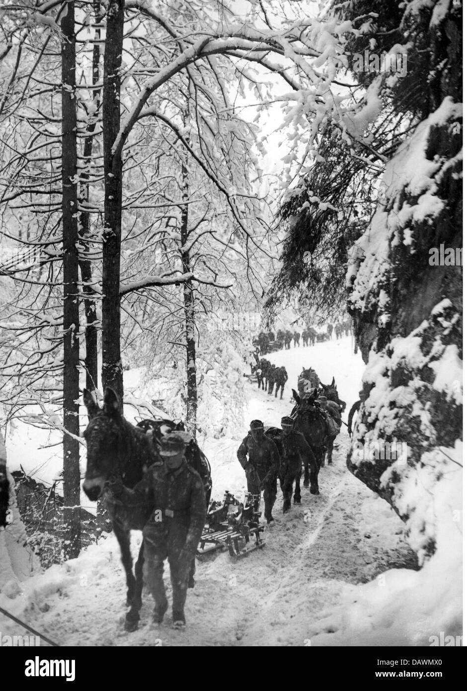 Nazism / National Socialism, military, German mountain troops during a manoeuvre at Mount Kreuzeck, Bavaria, 16.1.1935, - Stock Image