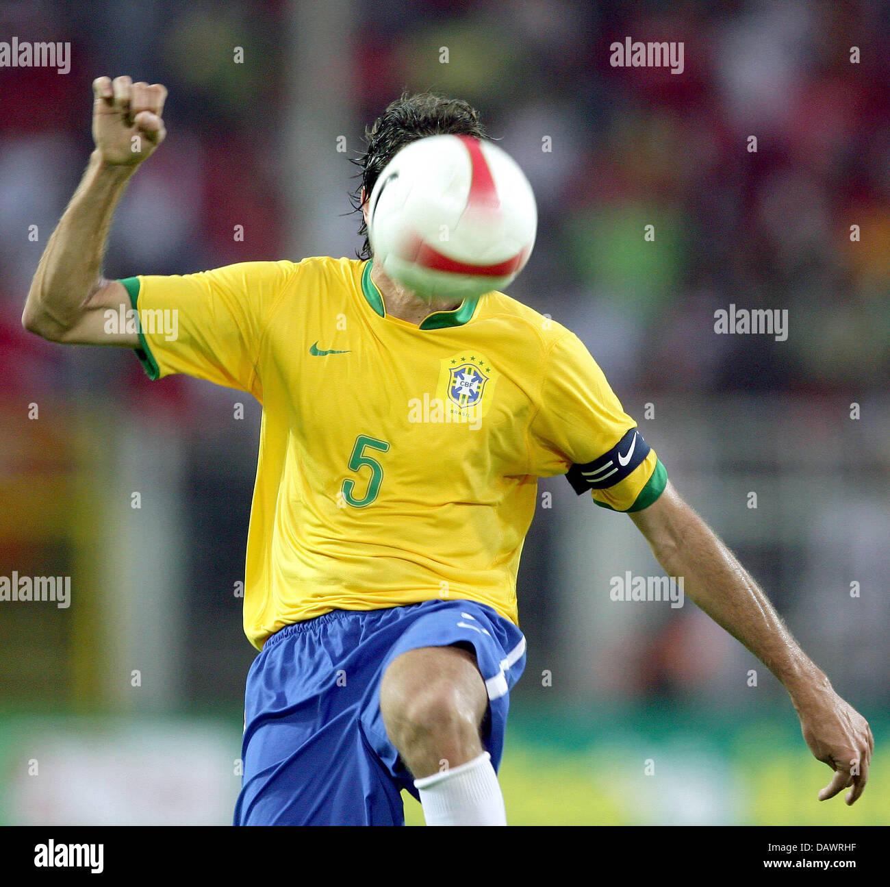 Brazilian skipper Edmilson heads the ball during the friendly Brazil v Turkey at the SignalIduna Park of Dortmund, - Stock Image