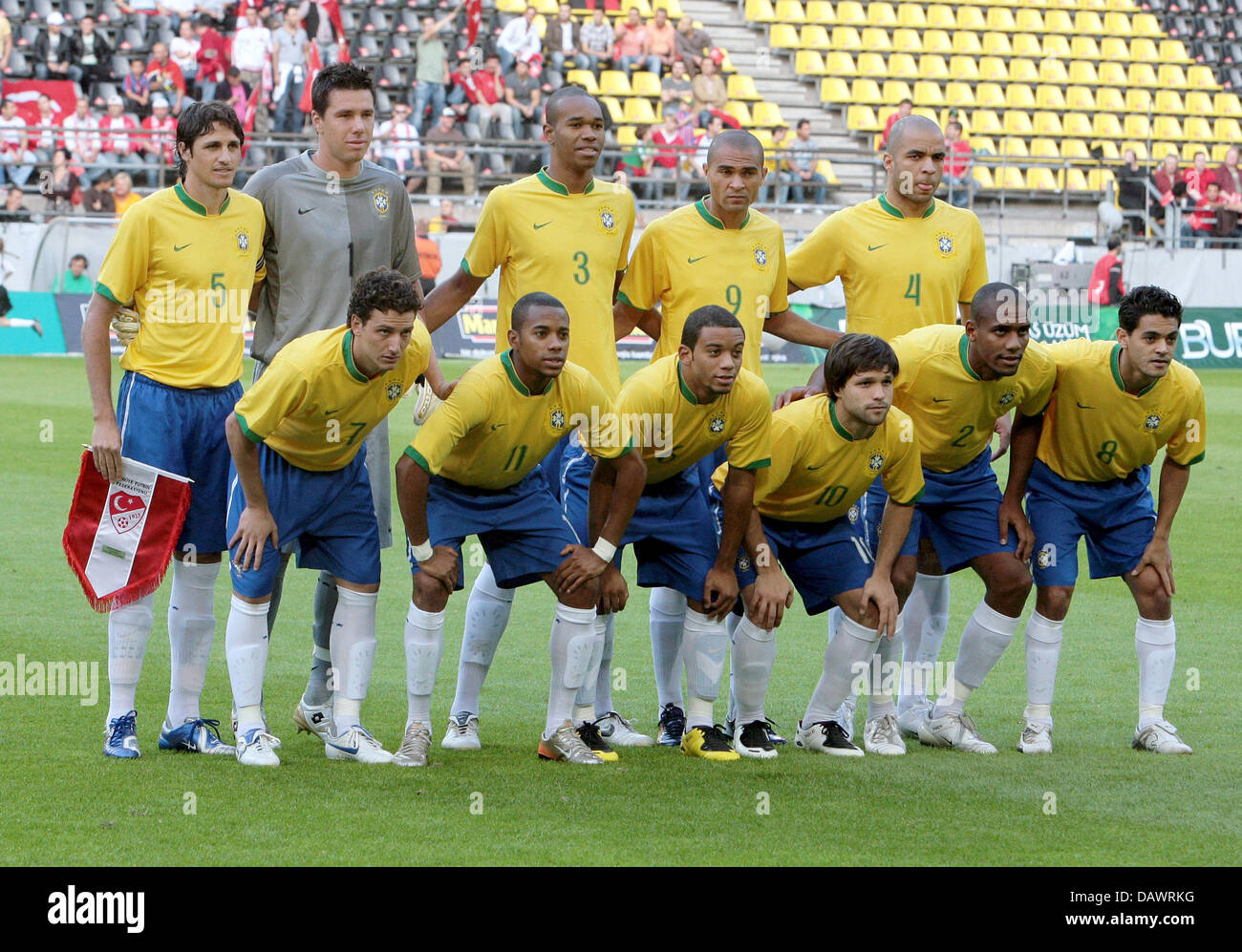The Brazilian starting side pose for the friendly Brazil v Turkey at the Signal Iduna Park stadium of Dortmund, - Stock Image